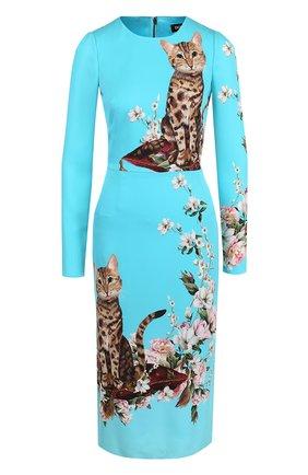Приталенное платье-миди с принтом Dolce & Gabbana голубое   Фото №1