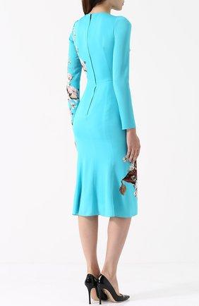 Приталенное платье-миди с принтом Dolce & Gabbana голубое   Фото №4
