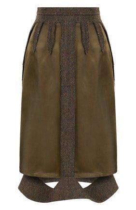 Юбка-миди с шерстяной отделкой Maison Margiela зеленая | Фото №1