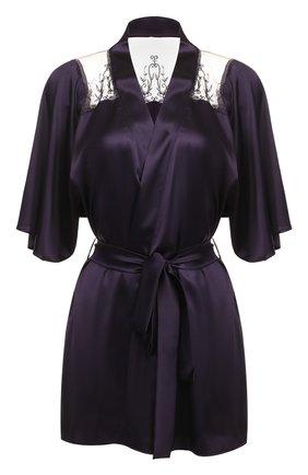 Шелковый халат с поясом и кружевными вставками Fleur of England темно-фиолетовый   Фото №1