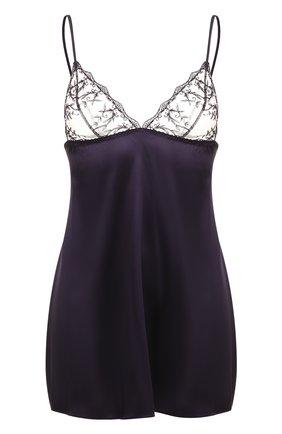 Шелковая ночная сорочка с кружевной отделкой Fleur of England темно-фиолетовая   Фото №1