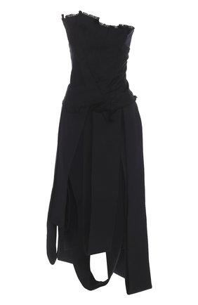 Джинсовое платье-бюстье асимметричного кроя   Фото №1