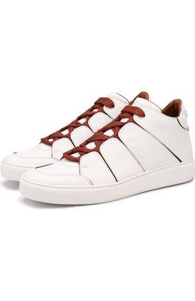 Мужские высокие кожаные кеды на шнуровке ZEGNA COUTURE белого цвета, арт. A2891X-SWI | Фото 1