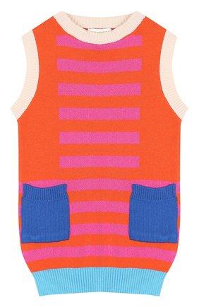 Хлопковое мини-платье с контрастными карманами | Фото №1