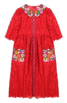 Детское кружевное платье с цветочным декором Dolce & Gabbana красного цвета | Фото №1