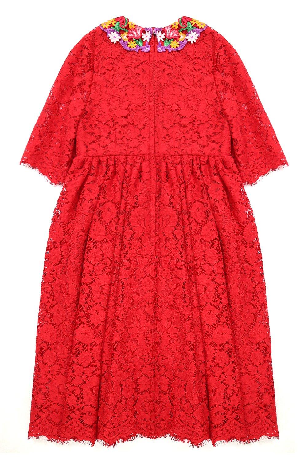 Детское кружевное платье с цветочным декором Dolce & Gabbana красного цвета | Фото №2
