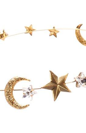 Обруч на резинке с декоративной отделкой и кристаллами Jennifer Behr золотого цвета   Фото №1