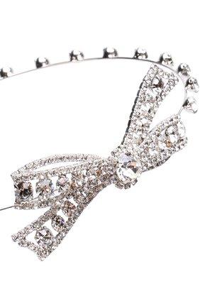 Обруч на резинке с декоративной отделкой и кристаллами Jennifer Behr серебряного цвета   Фото №1