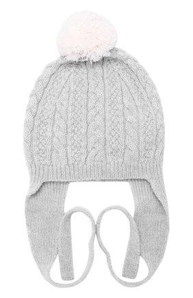Кашемировая шапка фактурной вязки с помпоном | Фото №1
