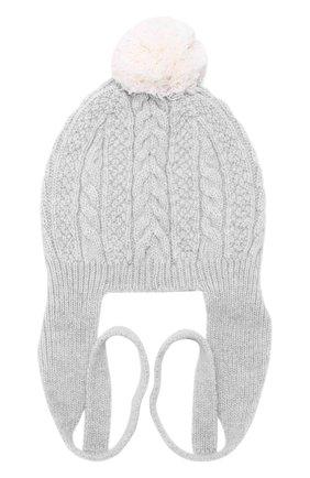 Кашемировая шапка фактурной вязки с помпоном Baby T светло-голубого цвета | Фото №1