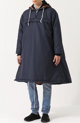 Утепленный плащ свободного кроя с капюшоном Comme des Garcons SHIRT BOYS темно-синего цвета | Фото №1