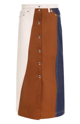 Джинсовая юбка-миди с карманами | Фото №1