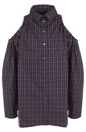 Хлопковая блуза клетку с открытыми плечами | Фото №1