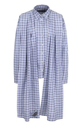Женская хлопковая блуза асимметричного кроя в клетку Victoria/Tomas, цвет голубой, арт. 1718_SHI_4 в ЦУМ   Фото №1