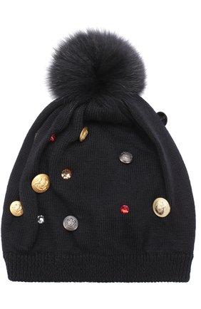 Шерстяная шапка с декором и меховым помпоном Dolce & Gabbana черного цвета | Фото №1