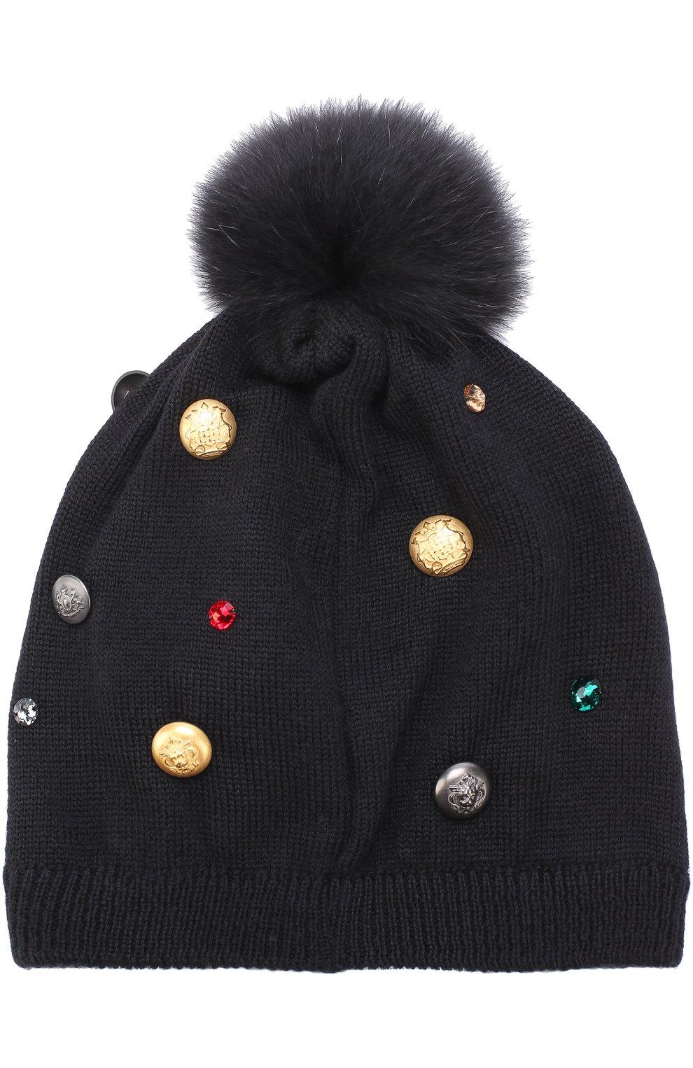 Шерстяная шапка с декором и меховым помпоном Dolce & Gabbana черного цвета | Фото №2