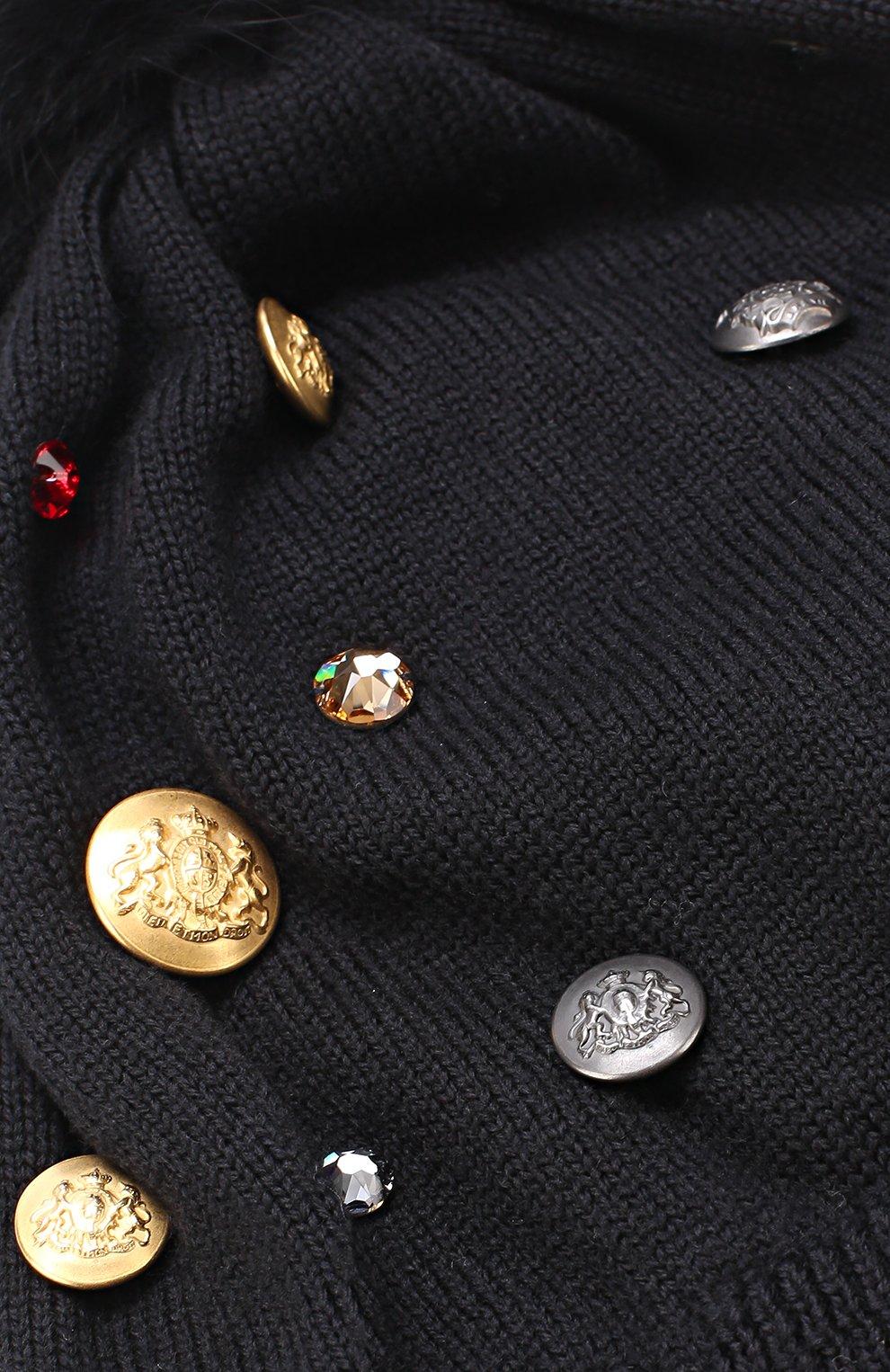 Шерстяная шапка с декором и меховым помпоном Dolce & Gabbana черного цвета | Фото №3