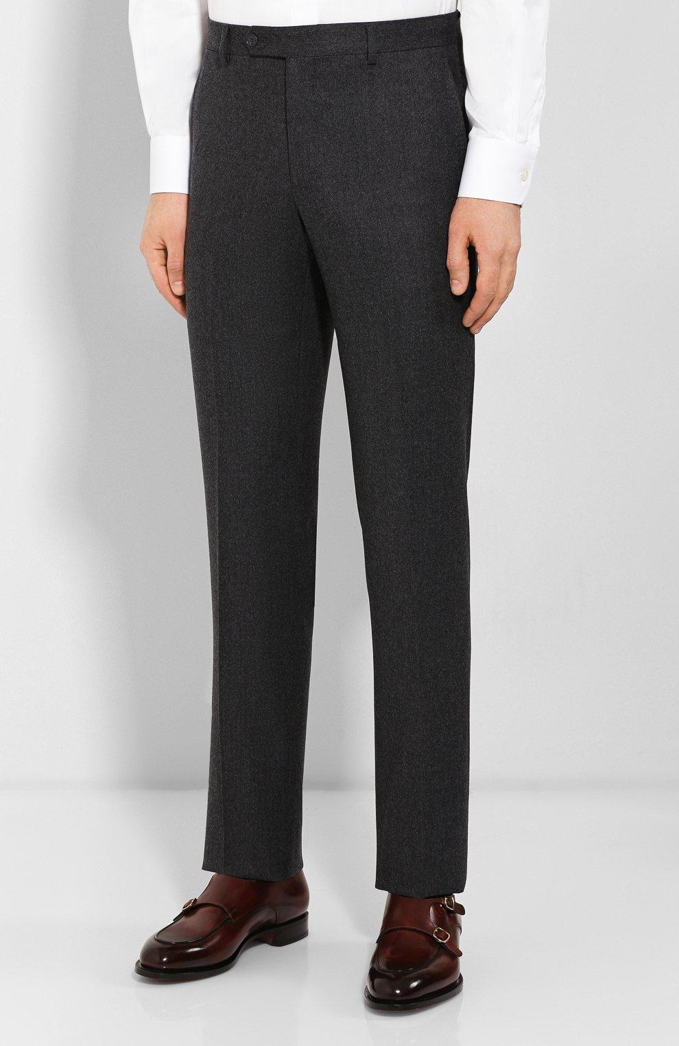 Мужские шерстяные брюки LUCIANO BARBERA темно-серого цвета, арт. 104014/45462 | Фото 3