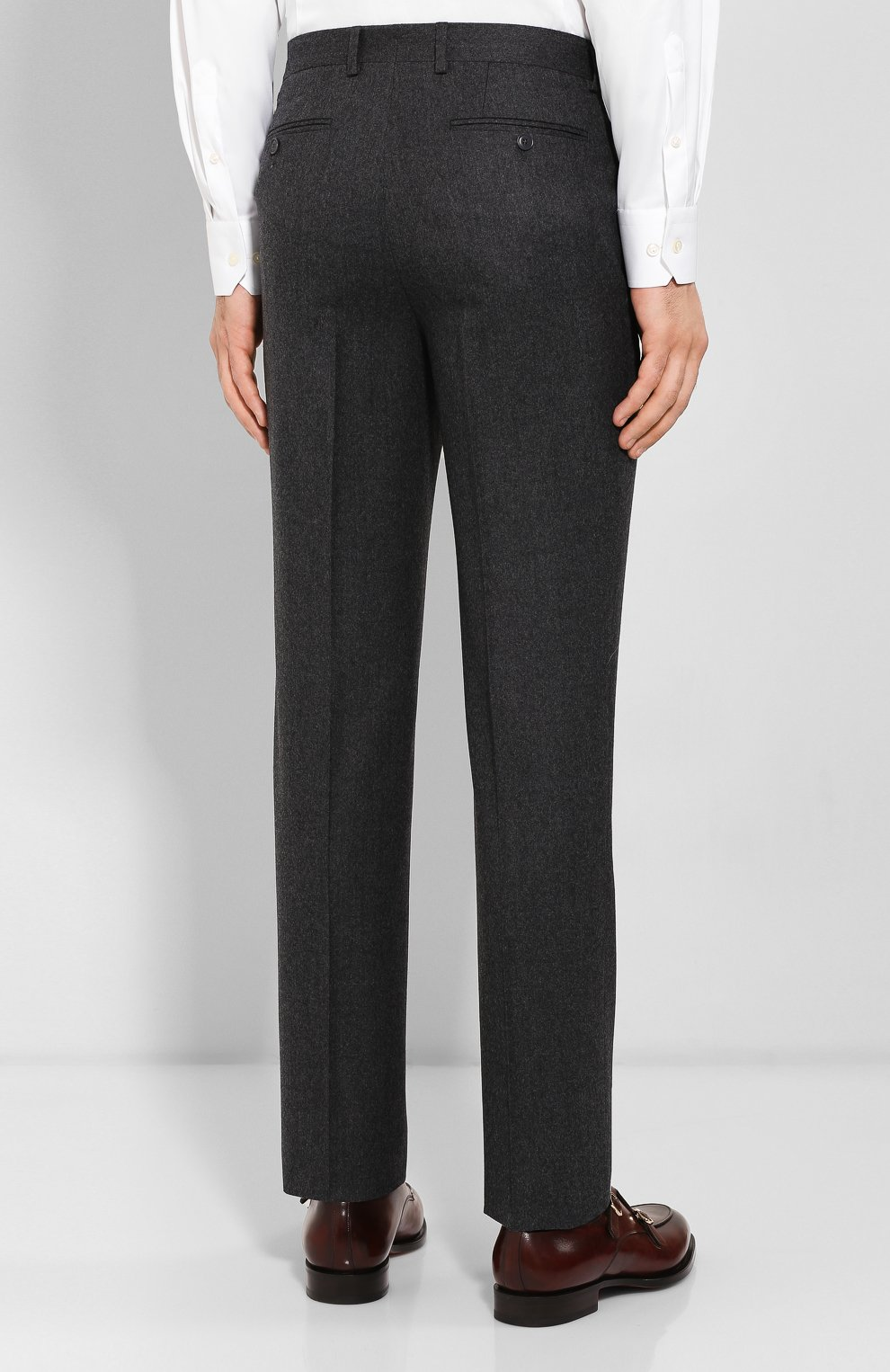 Мужские шерстяные брюки LUCIANO BARBERA темно-серого цвета, арт. 104014/45462 | Фото 4