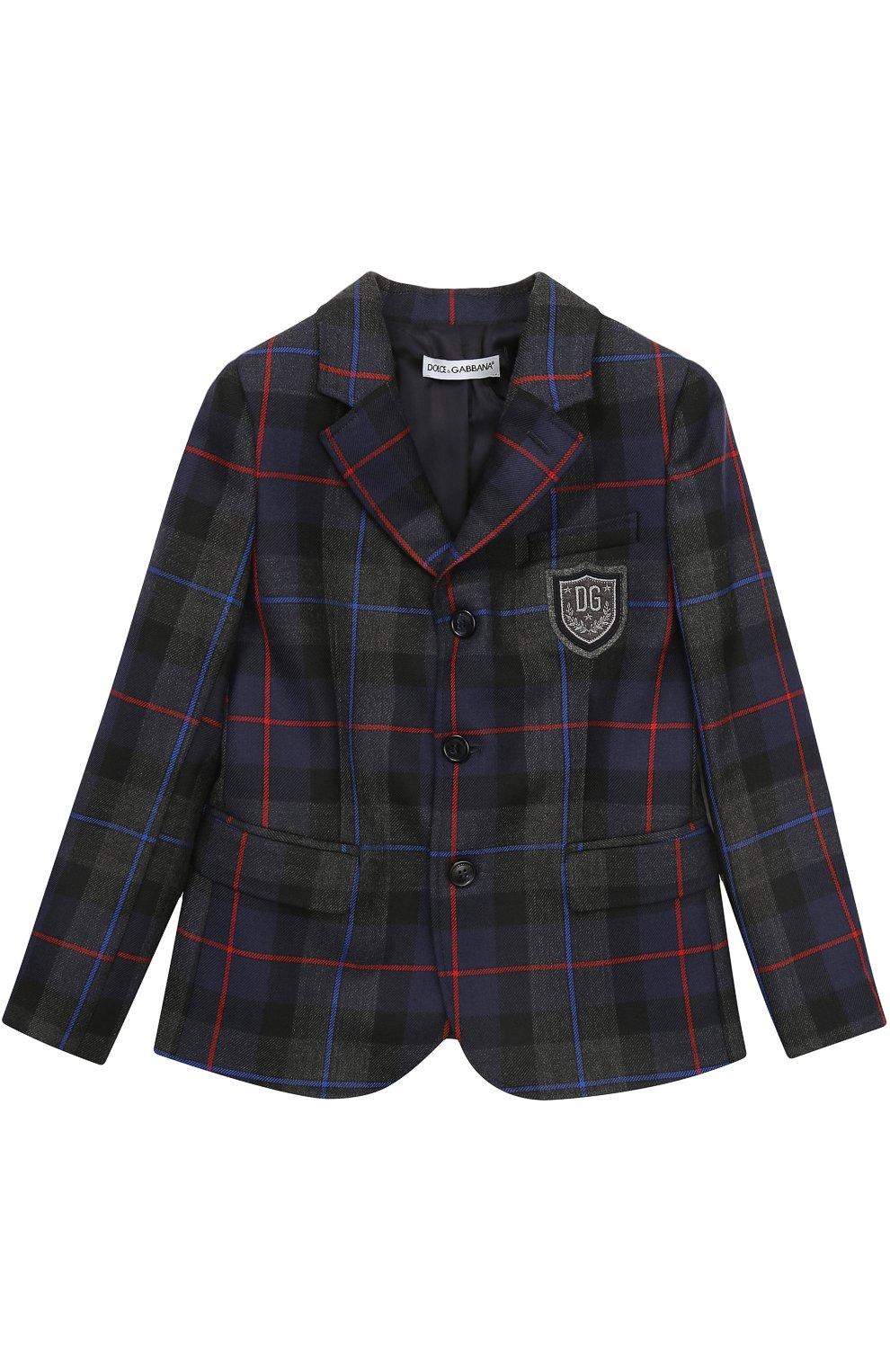Шерстяной пиджак с принтом и нашивкой | Фото №1