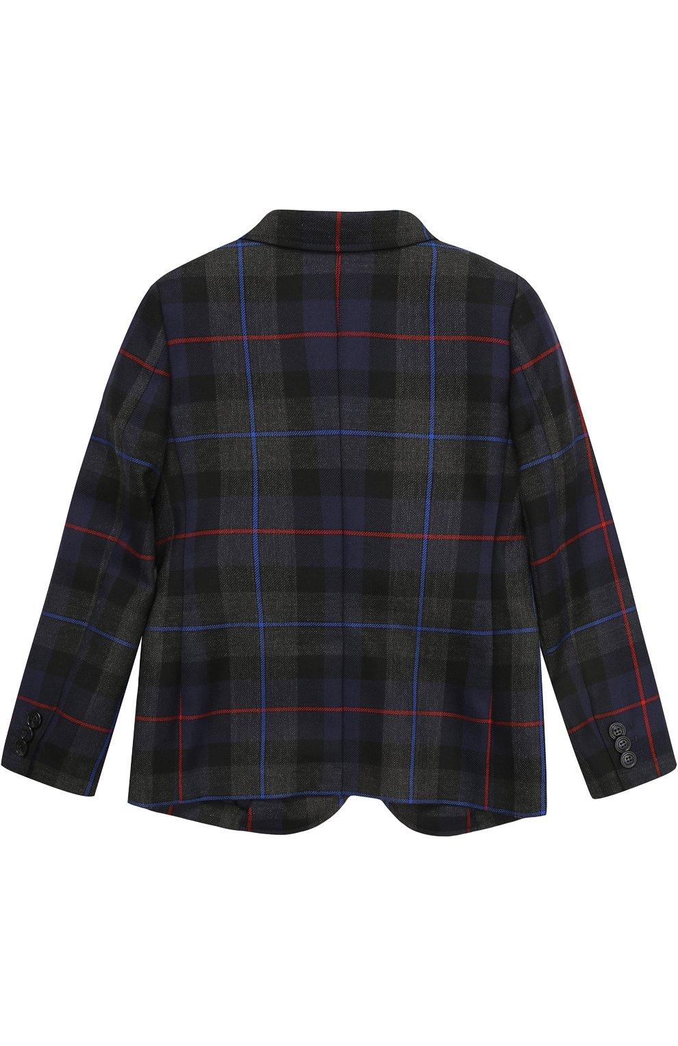 Шерстяной пиджак с принтом и нашивкой | Фото №2