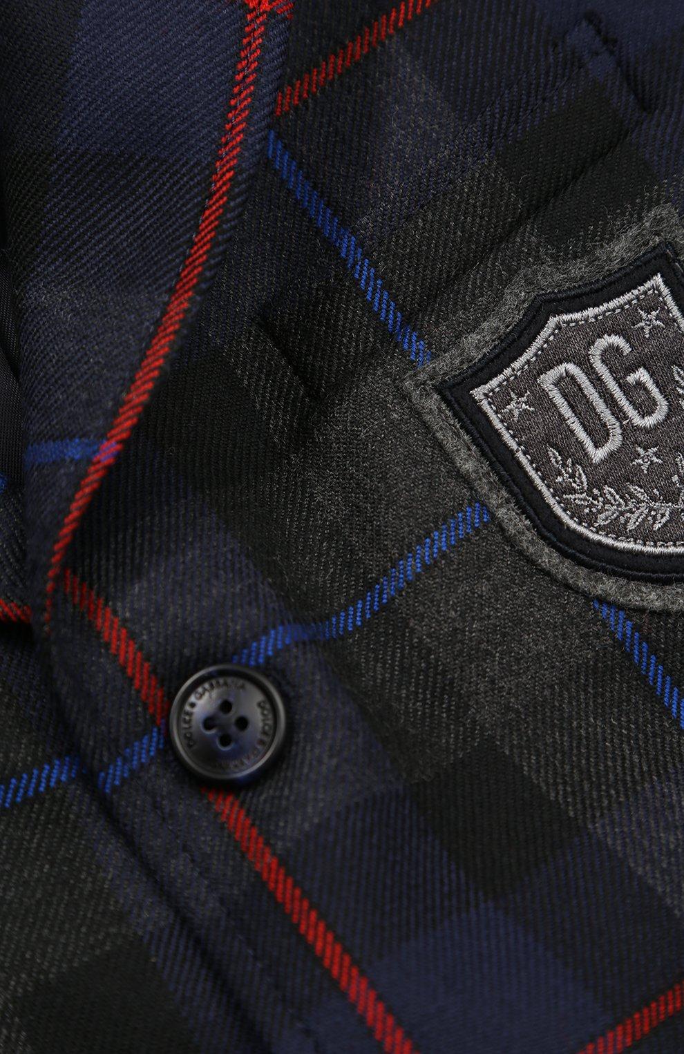 Детский шерстяной пиджак с принтом и нашивкой Dolce & Gabbana синего цвета | Фото №3