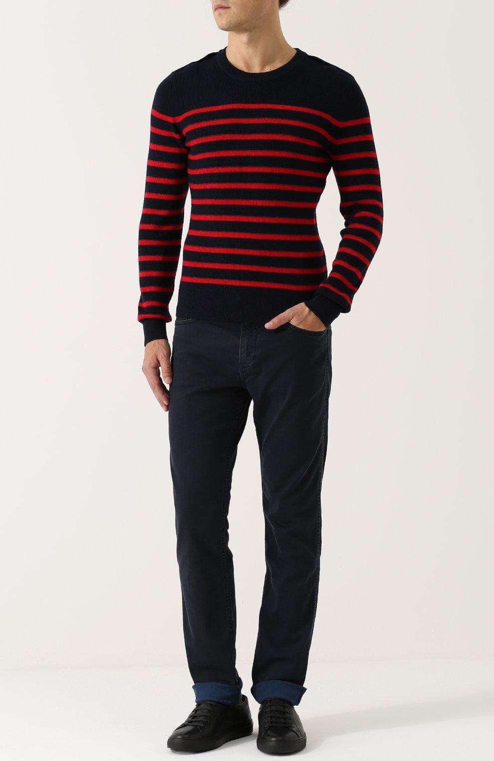 Джемпер из смеси шерсти и хлопка в контрастную полоску | Фото №2