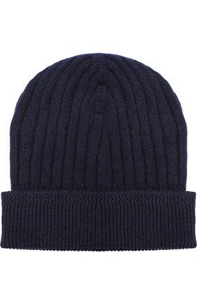 Мужская кашемировая шапка фактурной вязки TOM FORD темно-синего цвета, арт. BNK8H/TFK800 | Фото 1