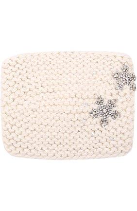 Шерстяная повязка фактурной вязки с отделкой из кристаллов Jennifer Behr белого цвета   Фото №1