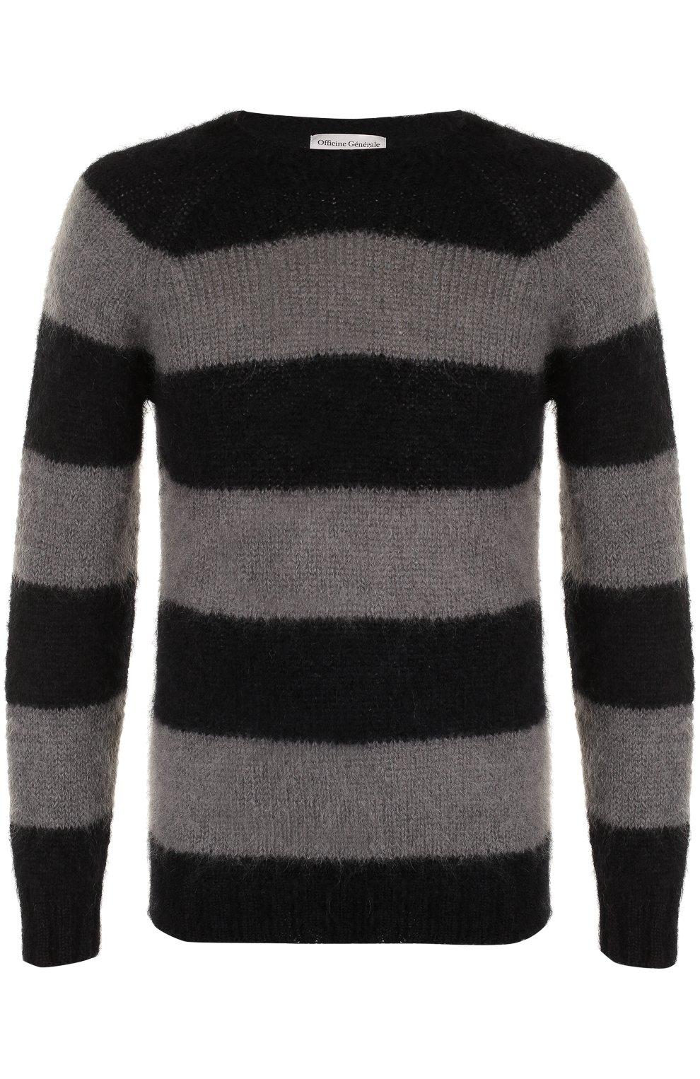 Шерстяной свитер в контрастную полоску   Фото №1