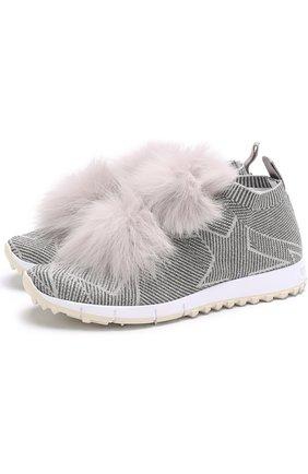 Текстильные кроссовки Norway с отделкой из меха лисы | Фото №1