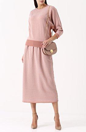 Юбка-миди из смеси хлопка и шерсти с широким поясом Molli розовая | Фото №1