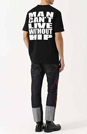 Хлопковая футболка с принтом на спине Junya Watanabe черно-белая | Фото №1
