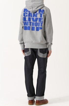 Хлопковое худи с принтом на спине Junya Watanabe светло-серый | Фото №1