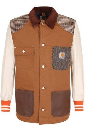 Хлопковая куртка Junya Watanabe x Levi's на пуговицах с кожаными рукавами | Фото №1