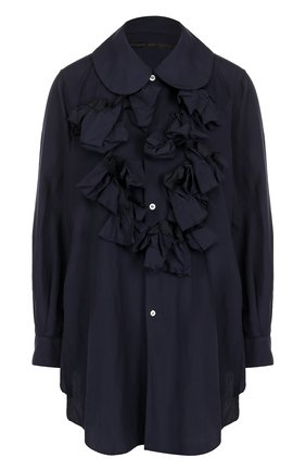 Однотонная блуза свободного кроя с оборками | Фото №1