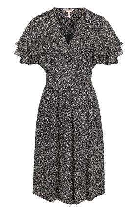 Приталенное шелковое платье с принтом и оборками | Фото №1