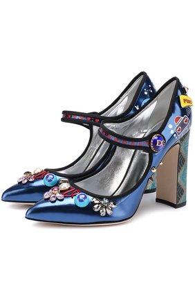Кожаные туфли Vally с декоративной отделкой Dolce & Gabbana синие | Фото №1