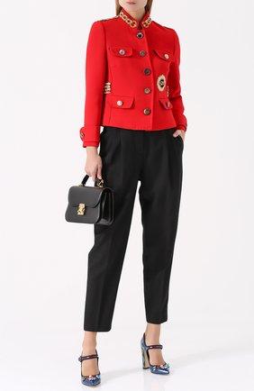 Кожаные туфли Vally с декоративной отделкой Dolce & Gabbana синие | Фото №2