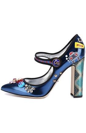 Кожаные туфли Vally с декоративной отделкой Dolce & Gabbana синие | Фото №3