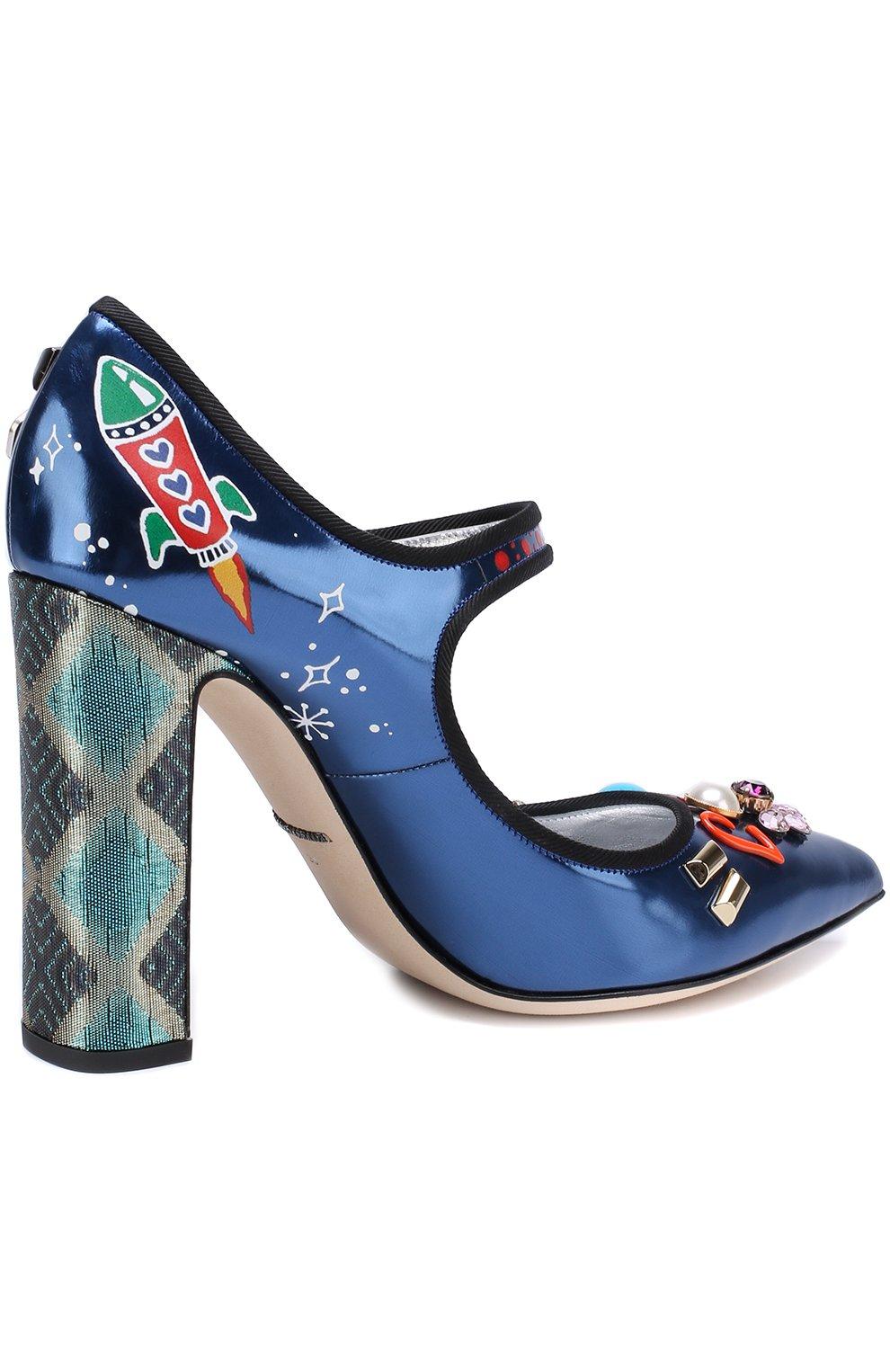 Кожаные туфли Vally с декоративной отделкой Dolce & Gabbana синие | Фото №4