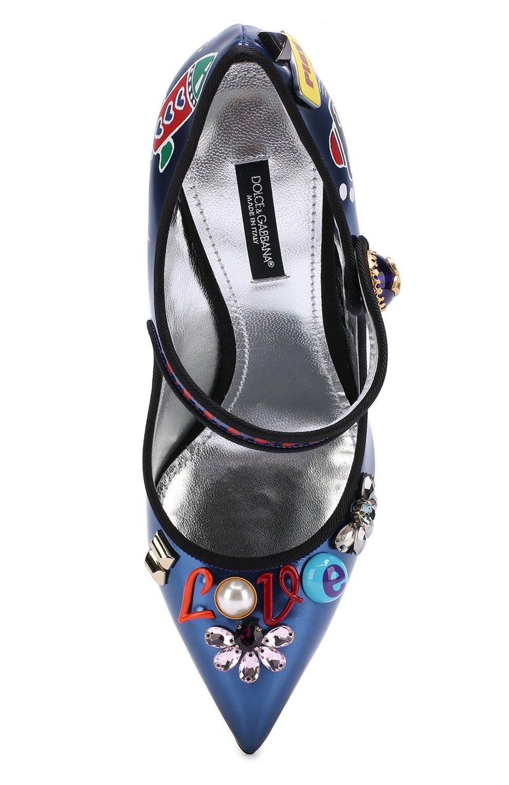 Кожаные туфли Vally с декоративной отделкой Dolce & Gabbana синие | Фото №5
