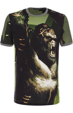 Хлопковая футболка с принтом Dolce & Gabbana зеленая | Фото №1