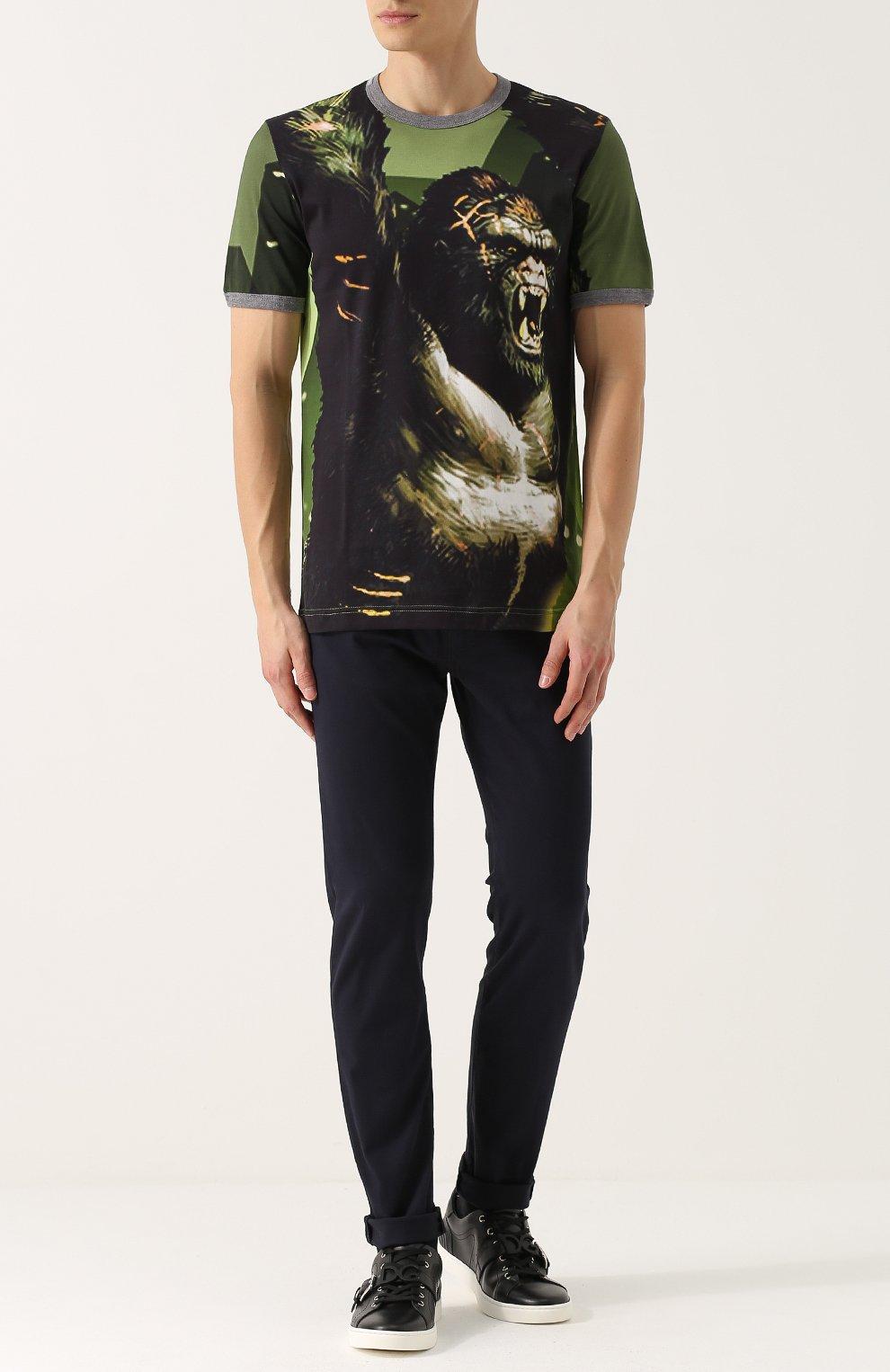 Хлопковая футболка с принтом Dolce & Gabbana зеленая | Фото №2