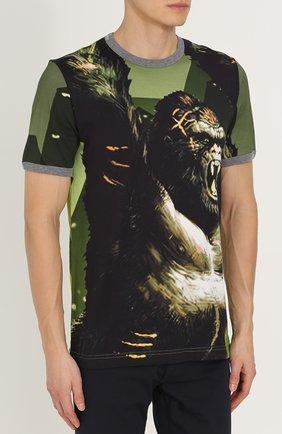Хлопковая футболка с принтом Dolce & Gabbana зеленая | Фото №3