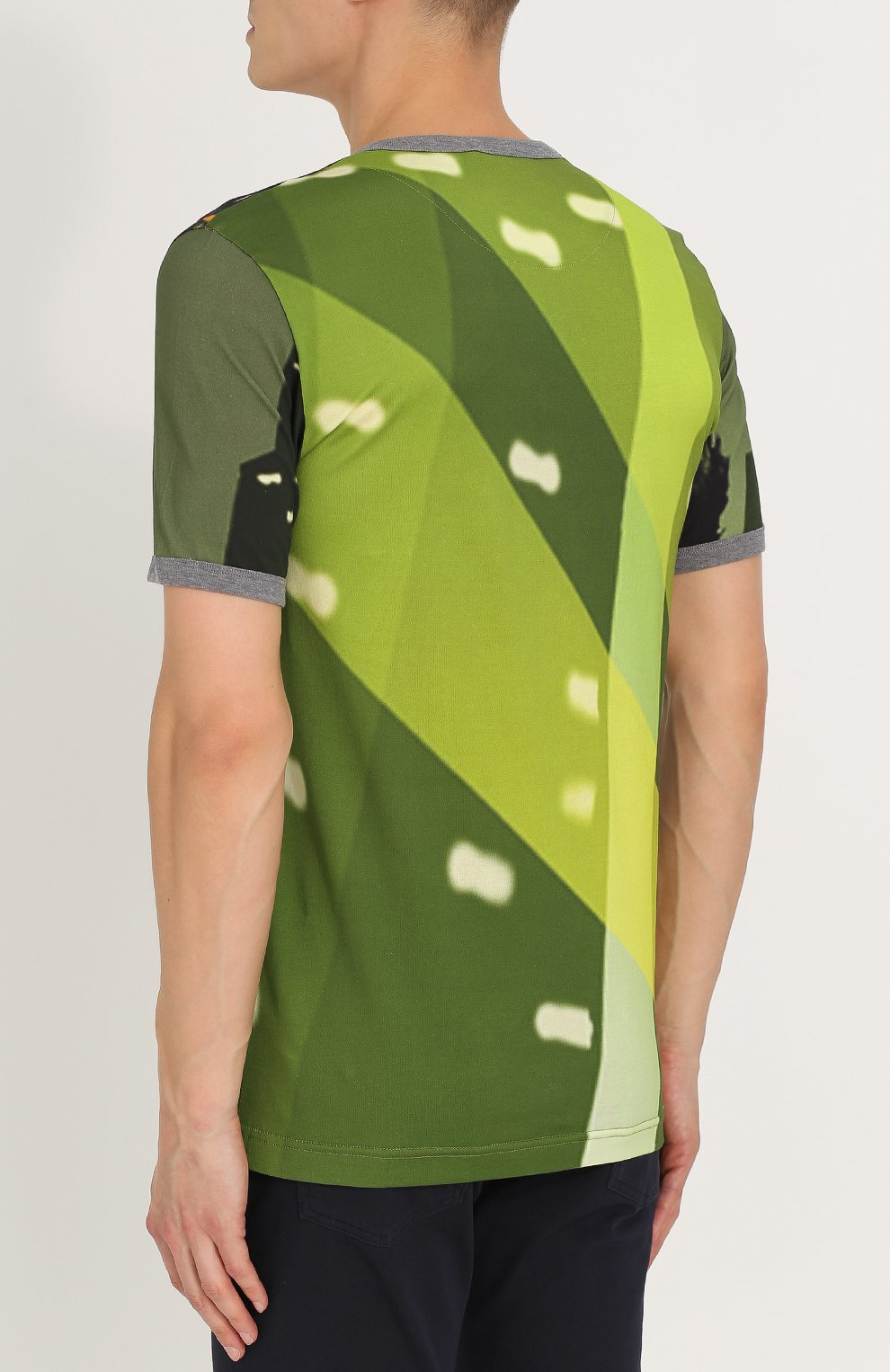 Хлопковая футболка с принтом Dolce & Gabbana зеленая | Фото №4