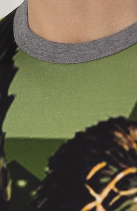 Хлопковая футболка с принтом Dolce & Gabbana зеленая | Фото №5