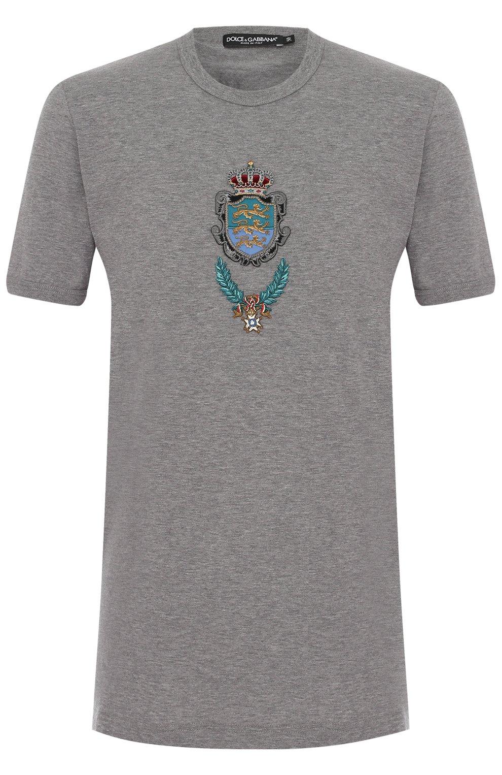 Хлопковая футболка с вышивкой   Фото №1