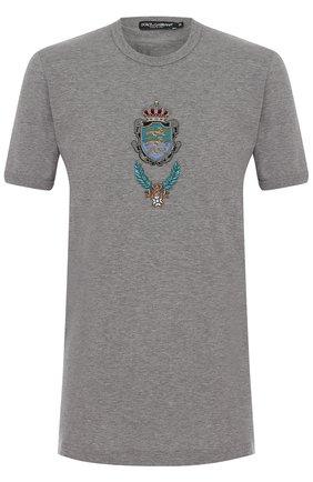 Хлопковая футболка с вышивкой Dolce & Gabbana серая   Фото №1