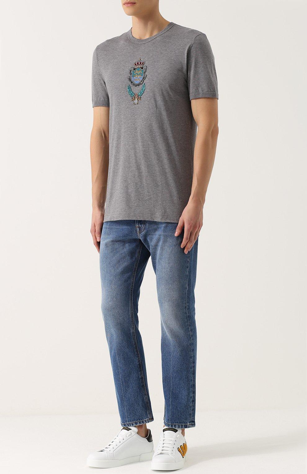Хлопковая футболка с вышивкой Dolce & Gabbana серая   Фото №2